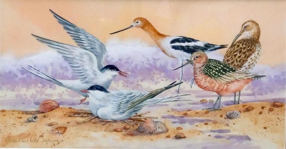 """""""Shore birds II, framed"""" original fine art by Jean Pierre DeBernay"""
