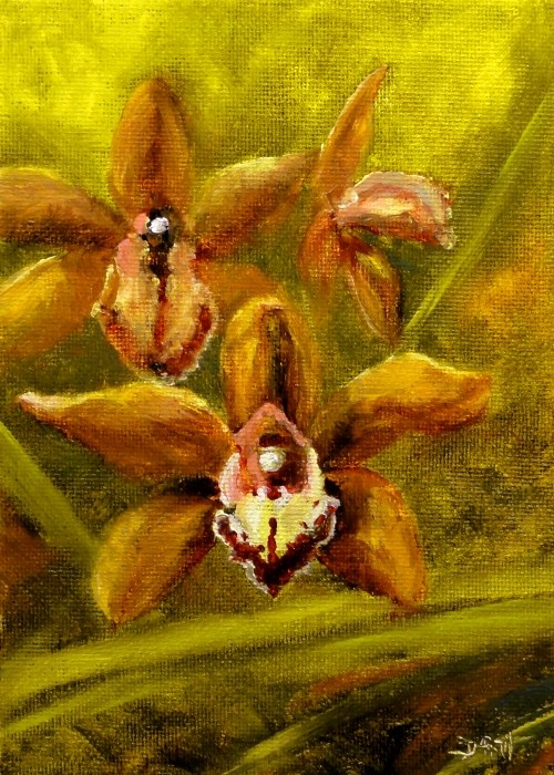 """Orchids Gold And Bronze"" original fine art by Dalan Wells"