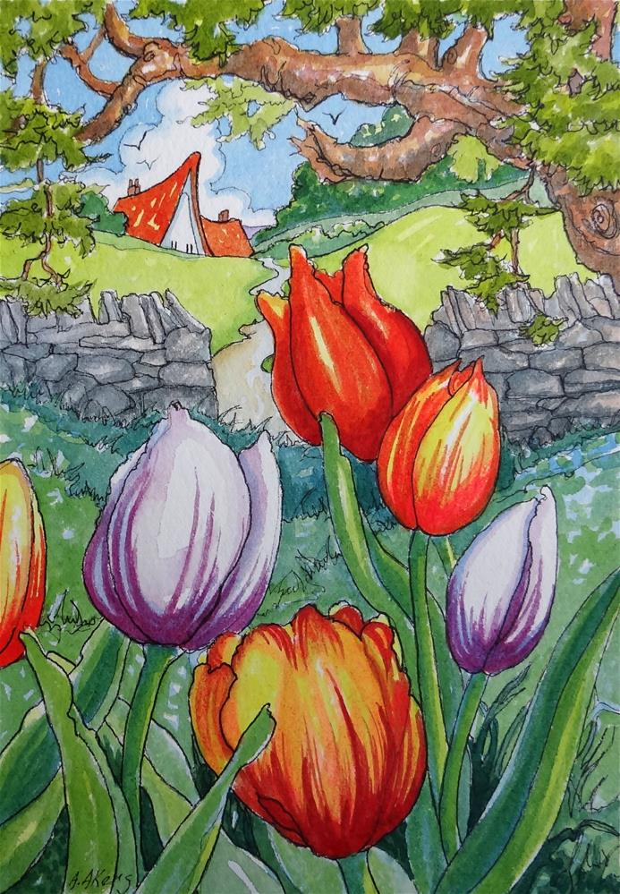 """""""May Day Tulips Storybook Cottage Series"""" original fine art by Alida Akers"""