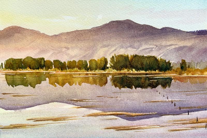 """Morning Pond: 6x9 watercolour on paper"" original fine art by Ken Faulks"