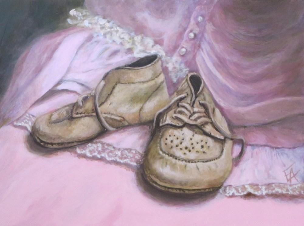 """""""Babyshoes on Pink (Framed) half price"""" original fine art by Elizabeth Elgin"""