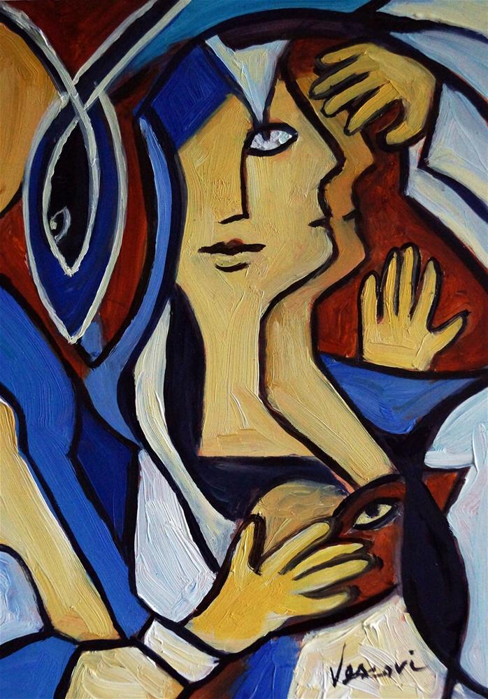 """Man Dreaming 8x6"" original fine art by Valerie Vescovi"