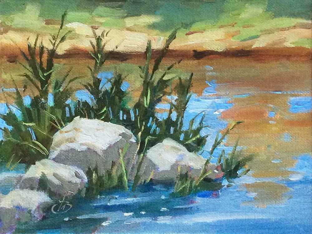 """LAKESIDE SERENITY"" original fine art by Tom Brown"