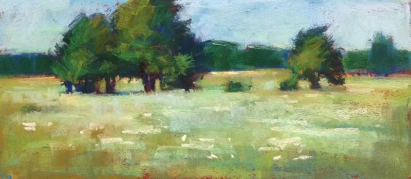 """""""Golden Gardens Greens and Golds"""" original fine art by Patti McNutt"""