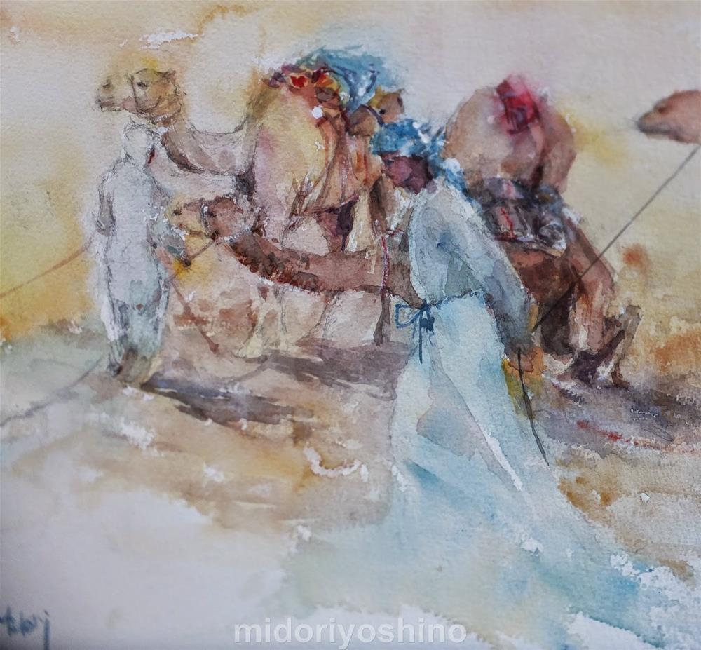 """""""Al Marmoom Camel Racetrack 2/7"""" original fine art by Midori Yoshino"""