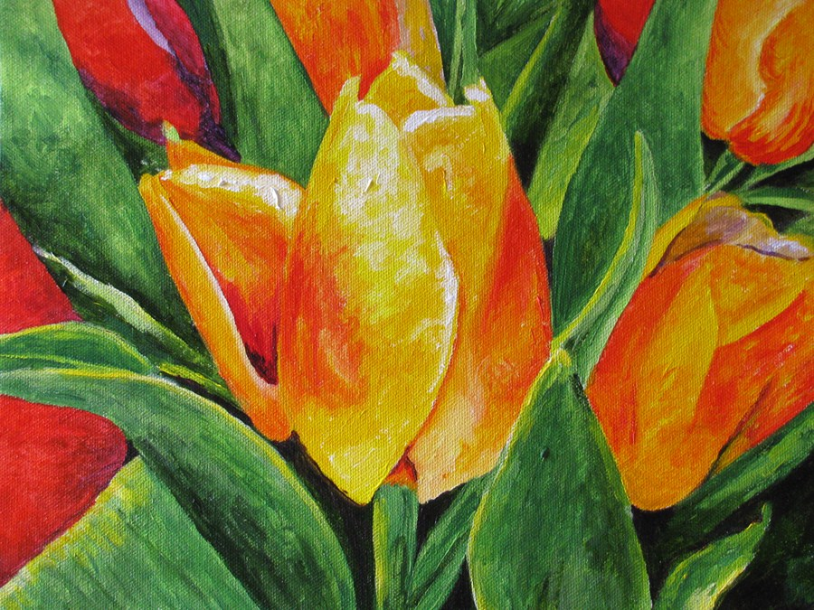 """Tulips"" original fine art by Nan Johnson"