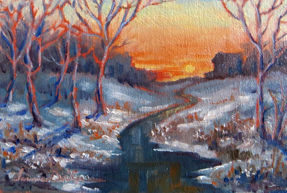 """""""Sunset at Winter's Creek"""" original fine art by Tammie Dickerson"""