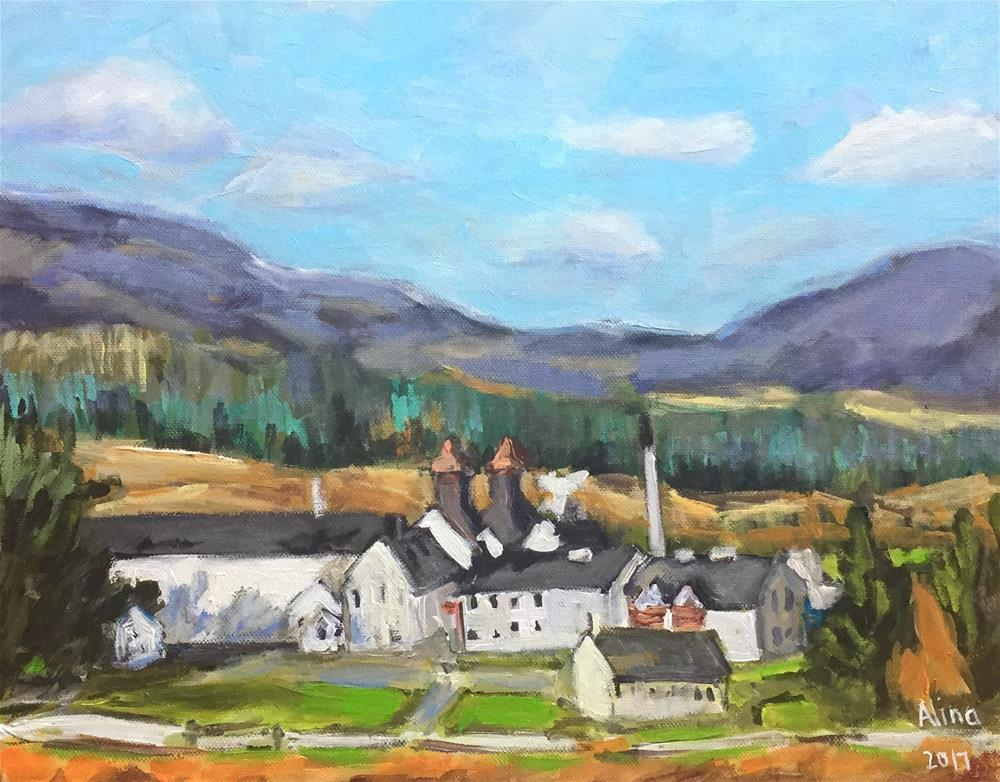 """Dalwhinnie Distillery"" original fine art by Alina Vidulescu"