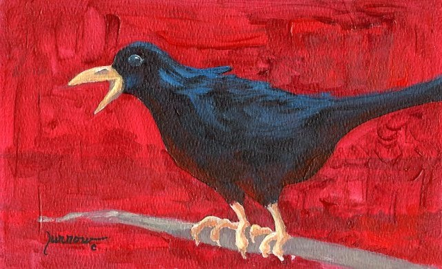 """""""ORIGINAL RAVEN PAINTING  HOLD THAT THOUGHT"""" original fine art by Sue Furrow"""