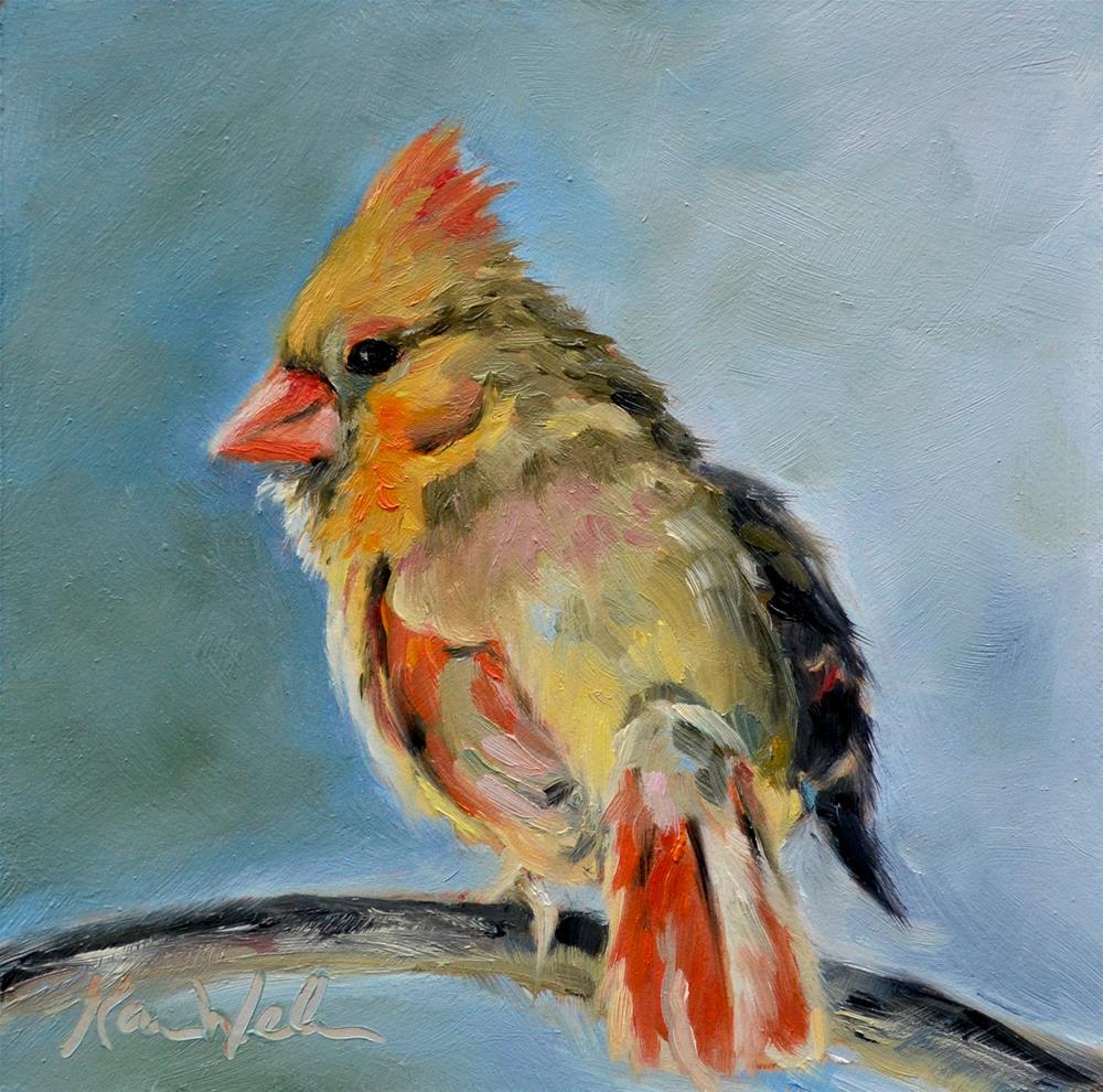 """Cardinal Smile"" original fine art by Karen Weber"