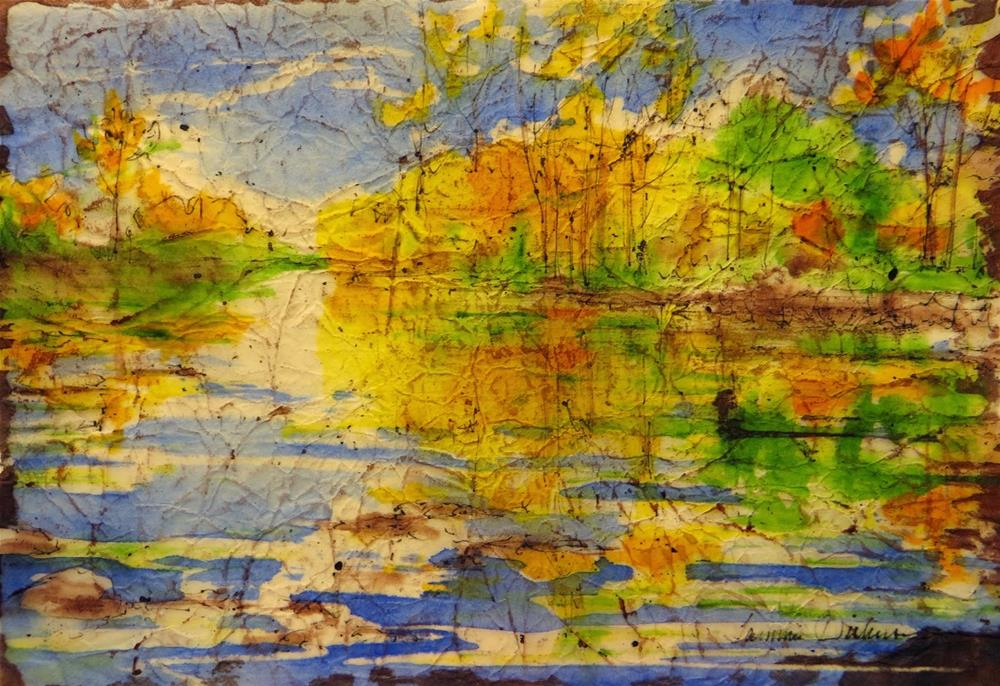 """Portage River in Fall"" original fine art by Tammie Dickerson"