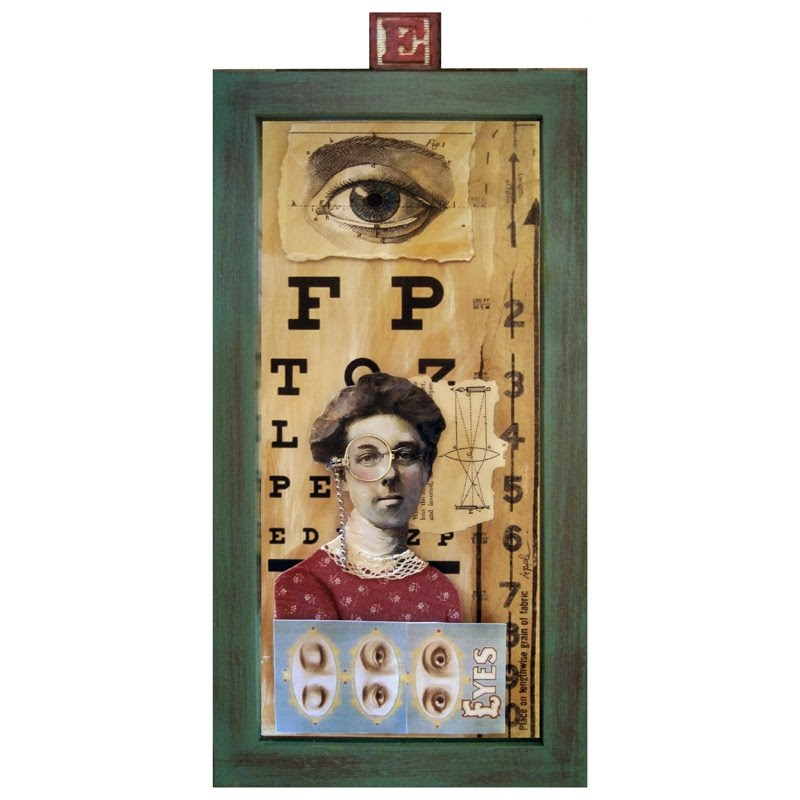 """""""All about EYES - 3D mixed media collage assemblage"""" original fine art by Linda Apple"""