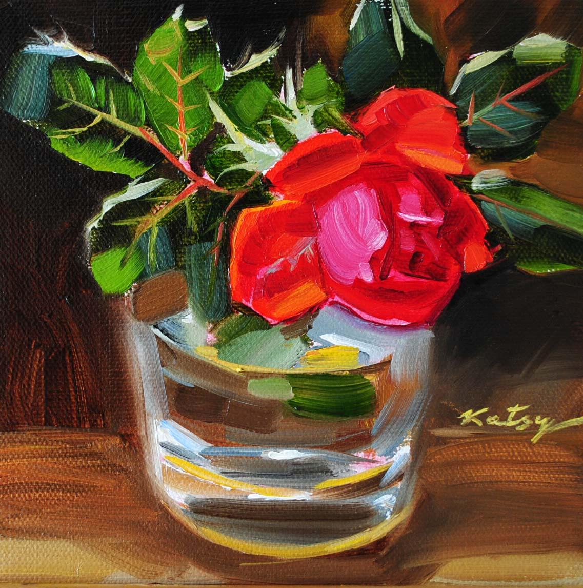 """Red Rose"" original fine art by Elena Katsyura"