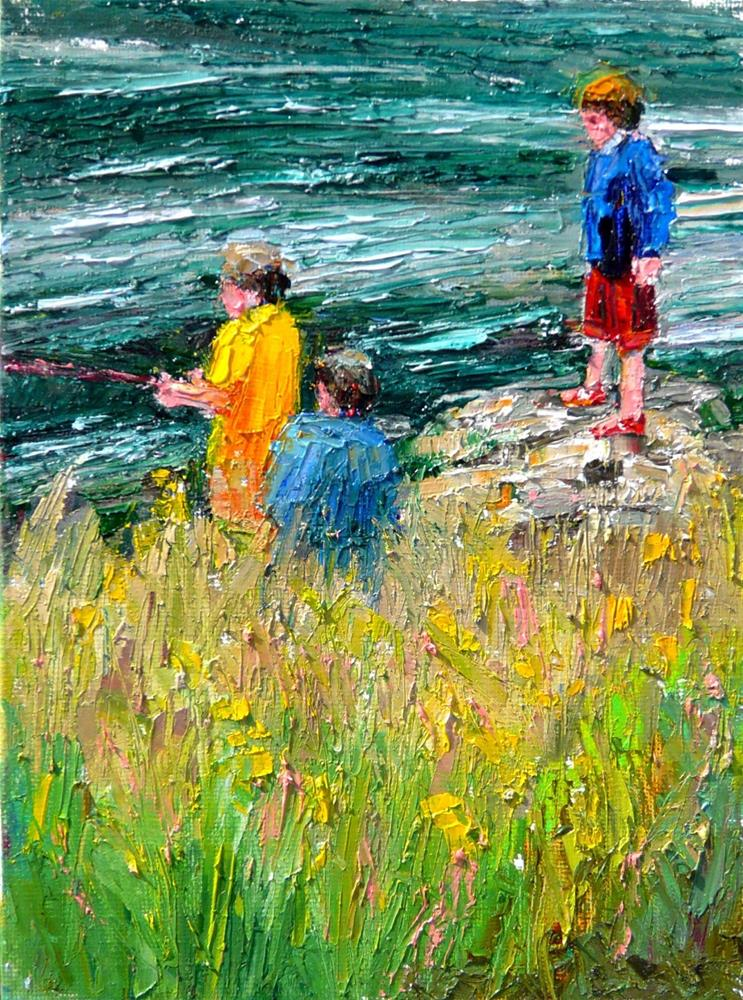 """""""Fishing in the Stream.figures,oil painting,8x6,price$350"""" original fine art by Joy Olney"""