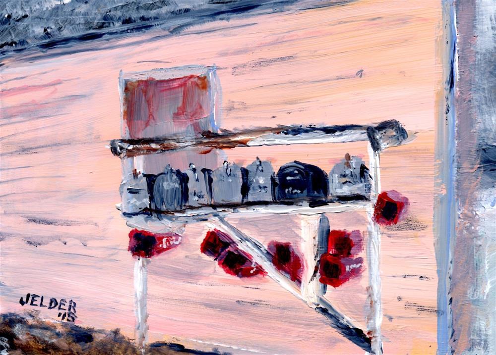 """""""Mailboxes"""" original fine art by Judith Elder"""