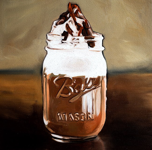 """Chocolate Shake in a Jar"" original fine art by Lauren Pretorius"