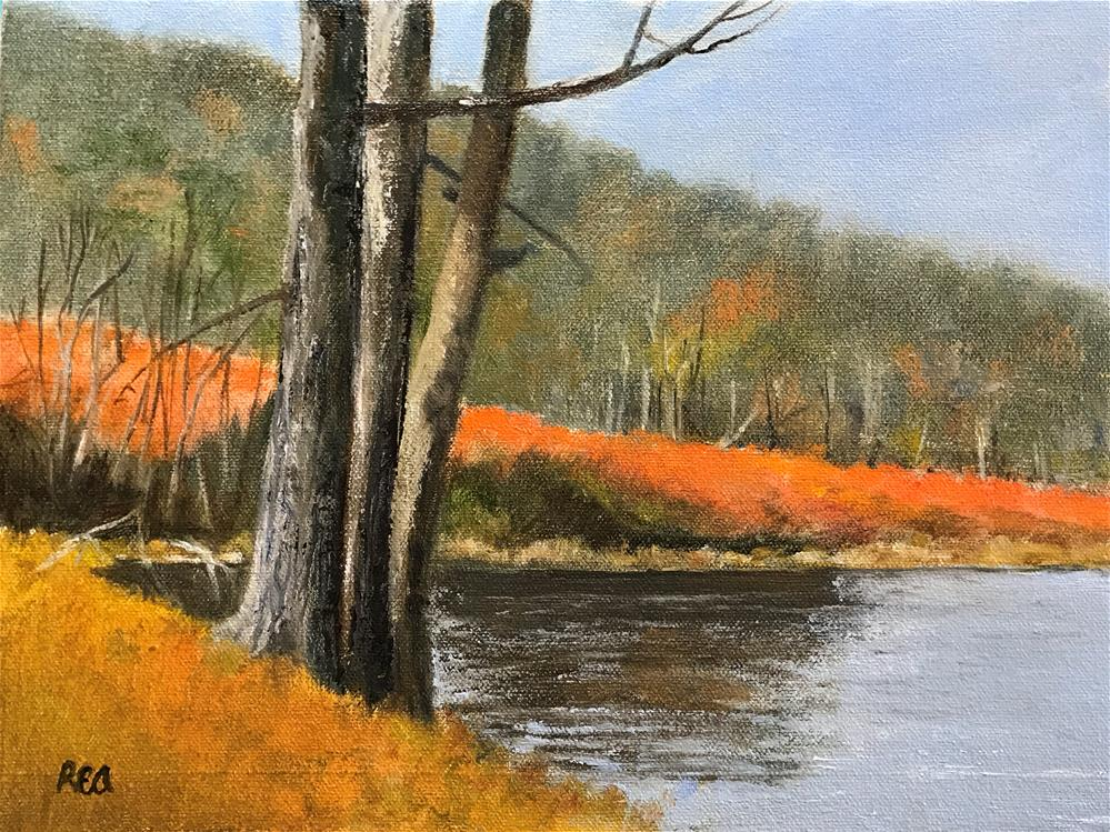 """autumn at the lake"" original fine art by Betty Argiros"