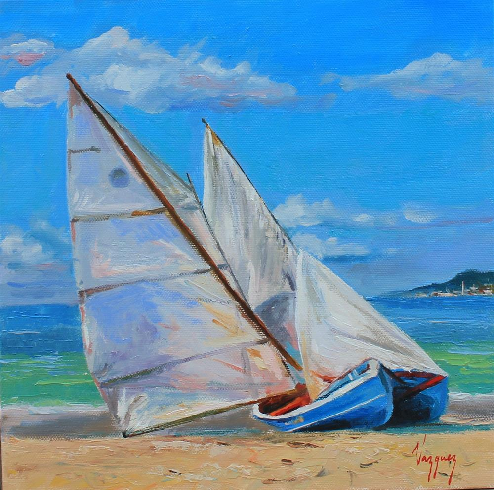 """Beached sailboat"" original fine art by Marco Vazquez"