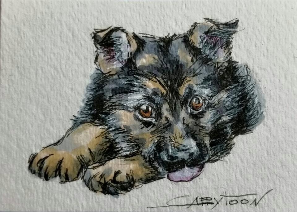 """Furry Puppy"" original fine art by Gabriella DeLamater"