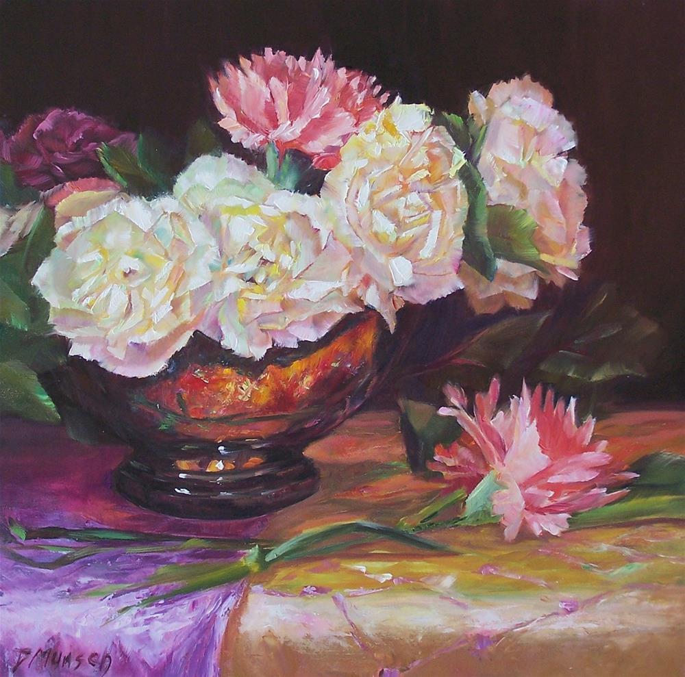 """""""Romantic Carnations"""" original fine art by Donna Munsch"""