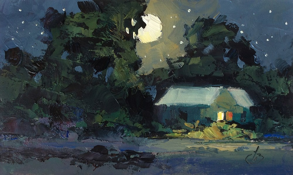 """PEACEFUL NIGHT"" original fine art by Tom Brown"