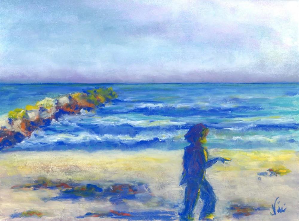 """Beach Stroll"" original fine art by Niki Hilsabeck"