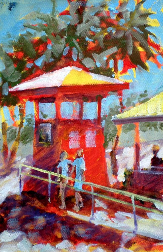 """Kahalu'u Life Guard Shack - sk88"" original fine art by richard rochkovsky"