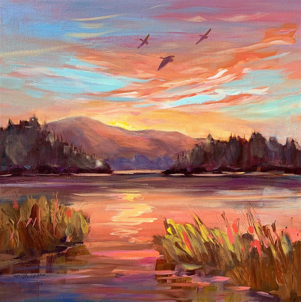 """Flying Home in the Setting Sun"" original fine art by Melissa Gannon"