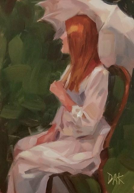 """""""Under A Lace Umbrella"""" original fine art by Deborah Ann Kirkeeide"""