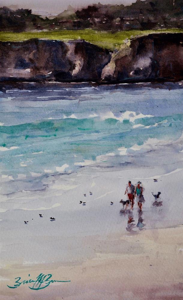 """Walking Carmel Beach"" original fine art by Brienne M Brown"