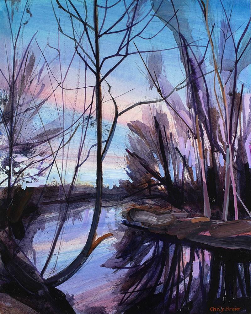 """""""Ellicott Creek at Dusk"""" original fine art by Chris Breier"""