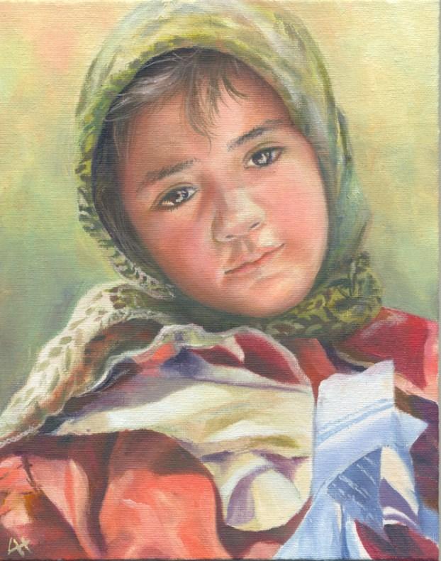 """""""Her eyes"""" original fine art by Hui (Hue) Li"""