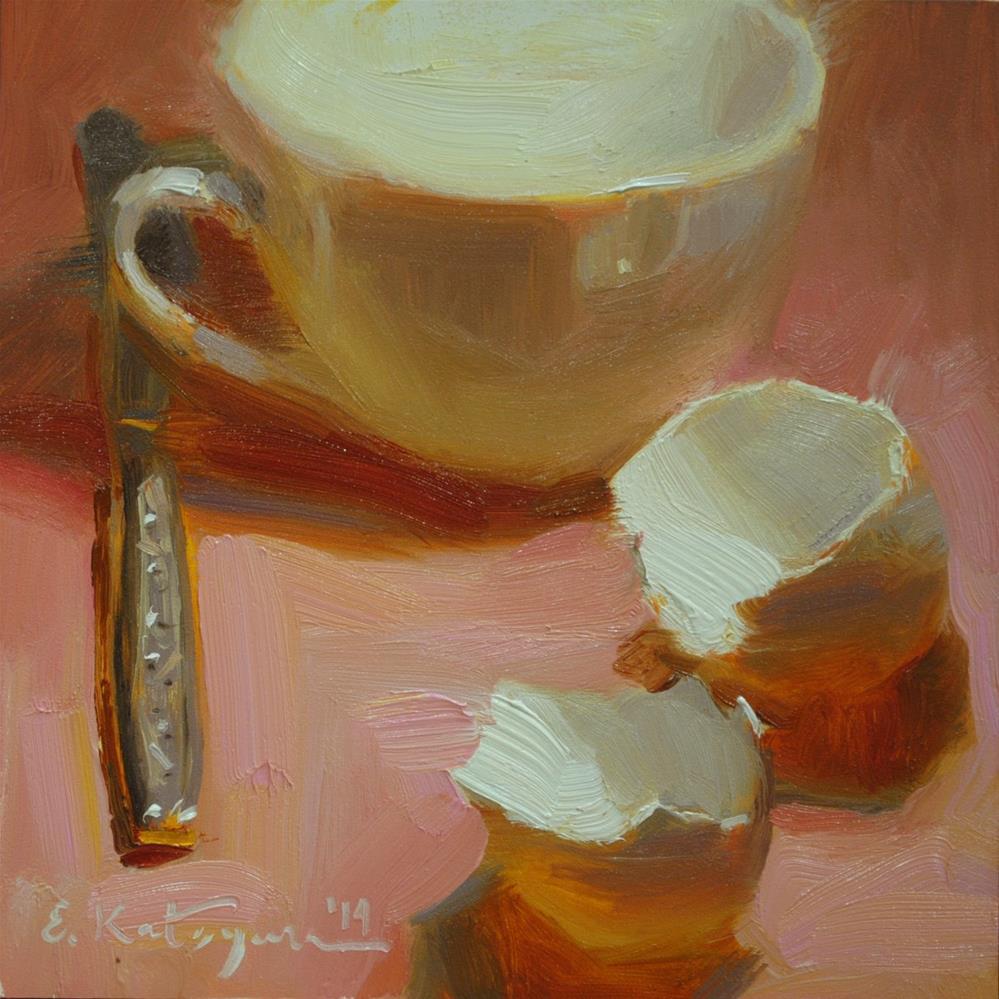 """Cup and Eggshells"" original fine art by Elena Katsyura"
