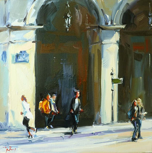 """Auf dem Weg zum Louvre"" original fine art by Jurij Frey"