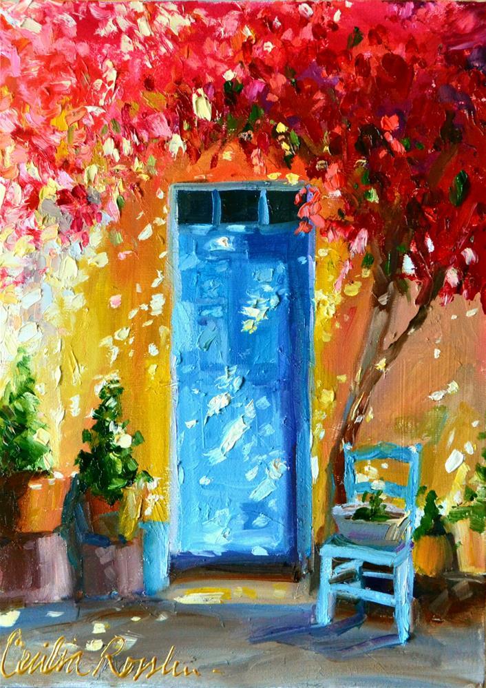 """""""PORTE BLEU"""" original fine art by Cecilia Rosslee"""