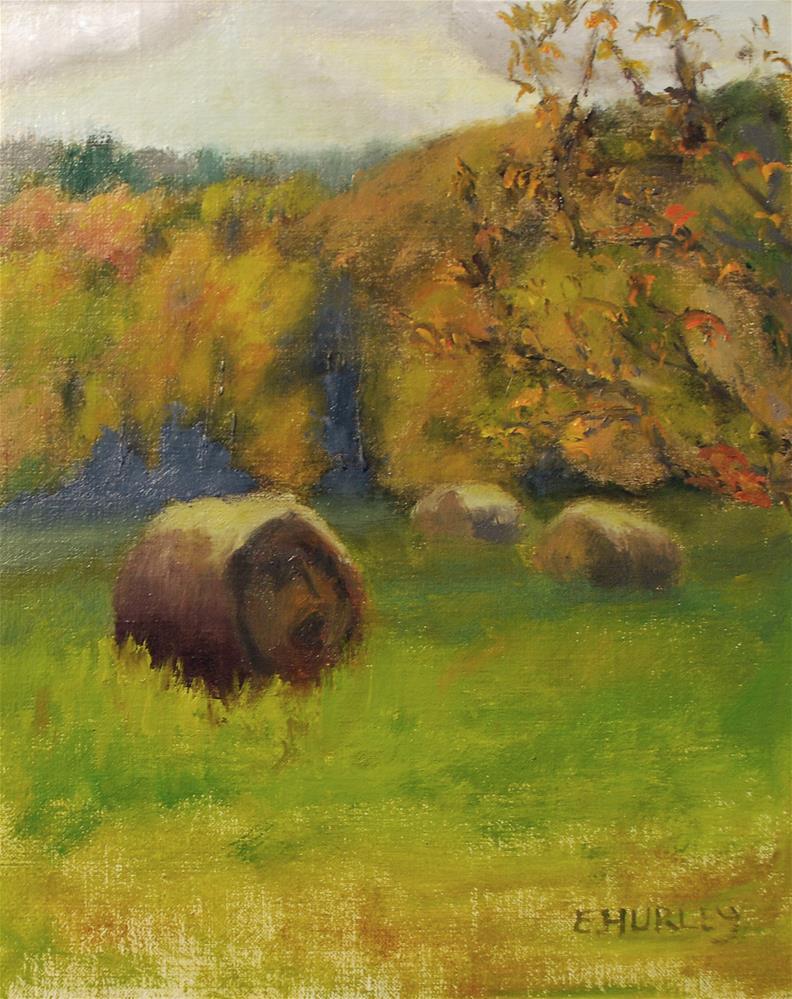 """Berkshire Hay Bales"" original fine art by Ellen Hurley"