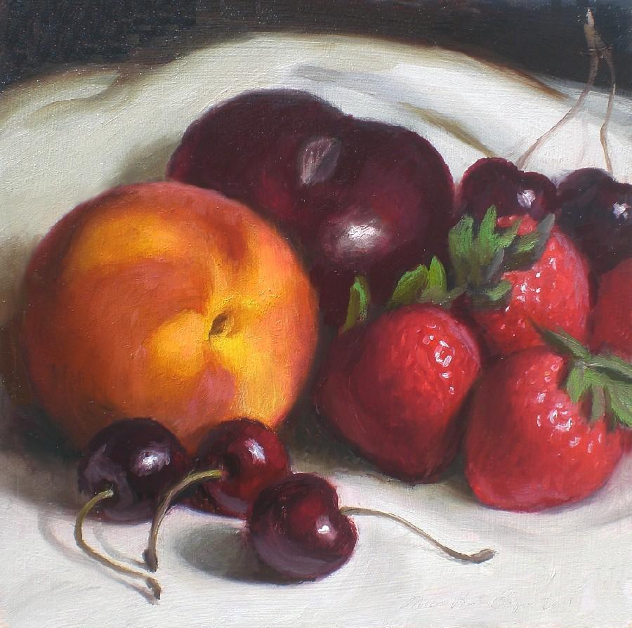 """Black Plum and Assorted Fruit"" original fine art by Debra Becks Cooper"