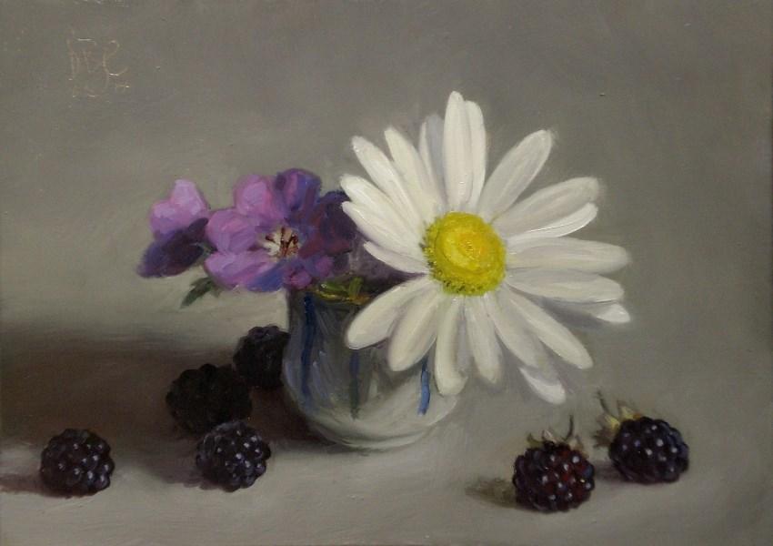 """Daisy and Blackberries"" original fine art by Debra Becks Cooper"