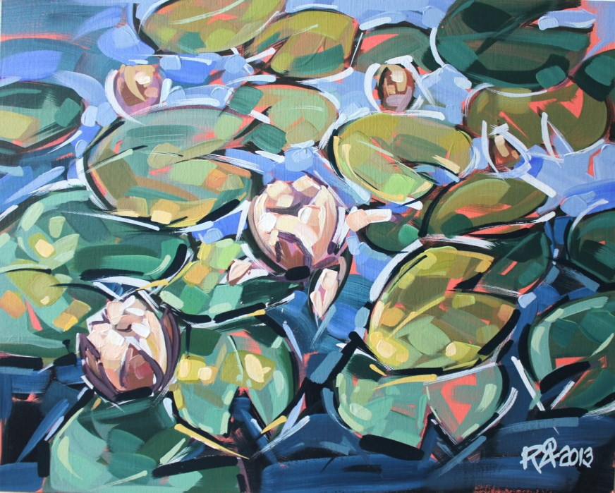 """Waterlily Abstraction 6"" original fine art by Roger Akesson"