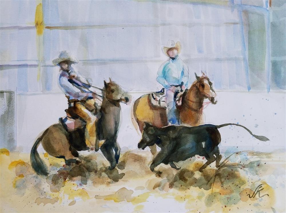 """Cattle Cutting, A Pinted View ranch, Westcliffe, CO"" original fine art by Jean Krueger"