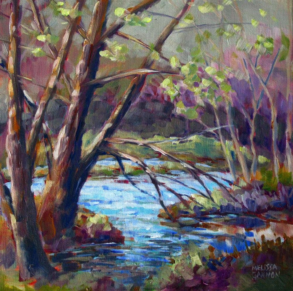 """Impressions of Spring by the River"" original fine art by Melissa Gannon"