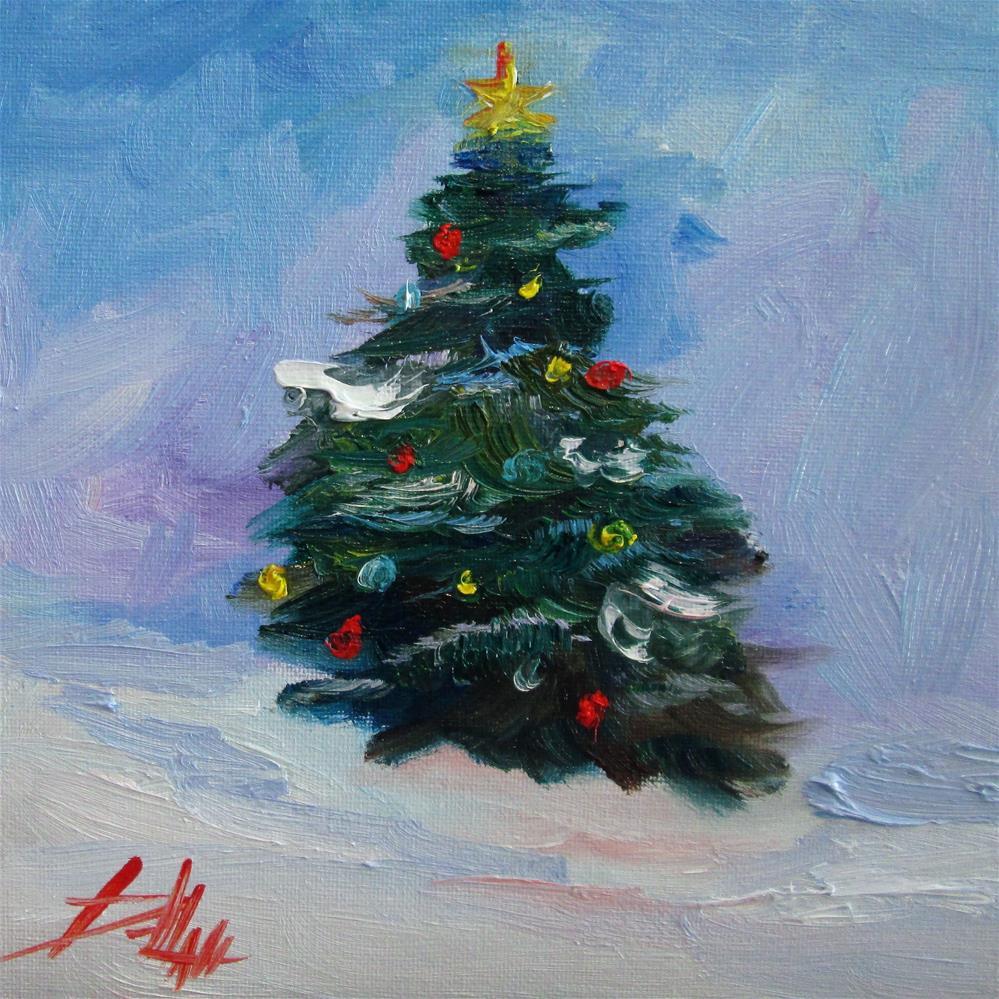 """Christmas Pine Tree"" original fine art by Delilah Smith"