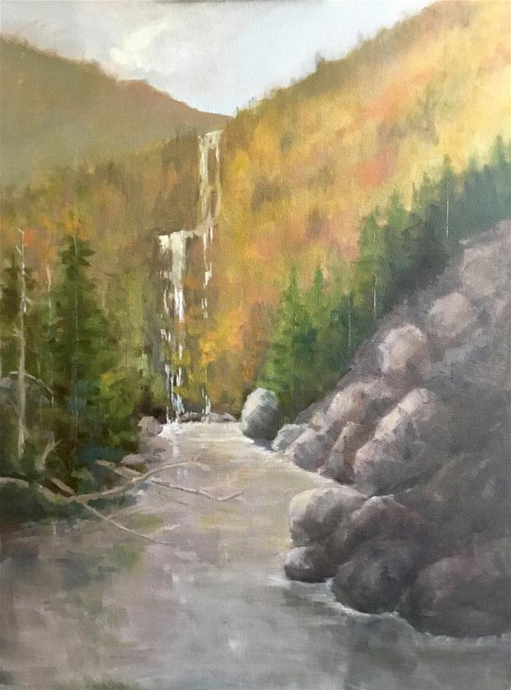 """Mountain water fall"" original fine art by Betty Argiros"