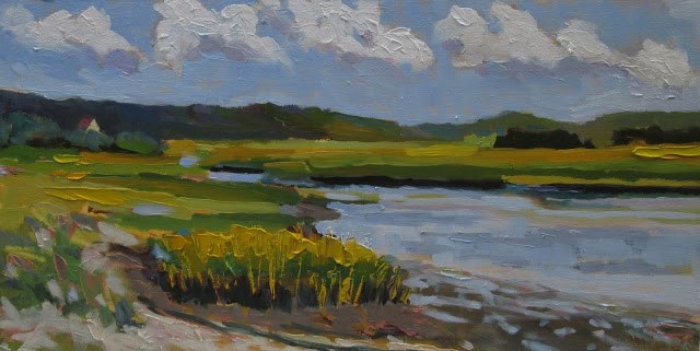 """""""South River Summer- had a great day painting on the river. FRAMED can send photo of framed piece"""" original fine art by Mary Sheehan Winn"""