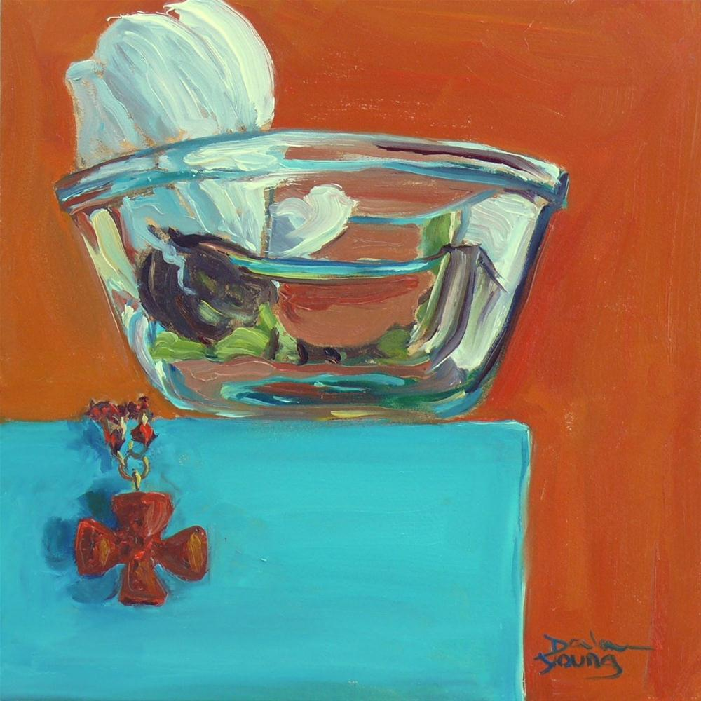 """""""627 Happy Easter (Still Life With Magnolia and Cinnabar Cross)"""" original fine art by Darlene Young"""