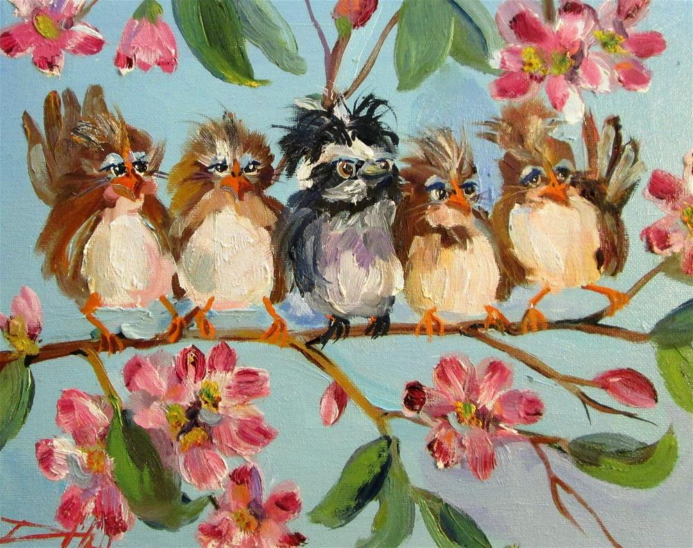 """Chubby Birds and Apple Blossoms"" original fine art by Delilah Smith"