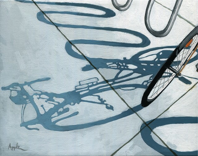 """In the Loop - summer cycling shadows bicycle painting"" original fine art by Linda Apple"
