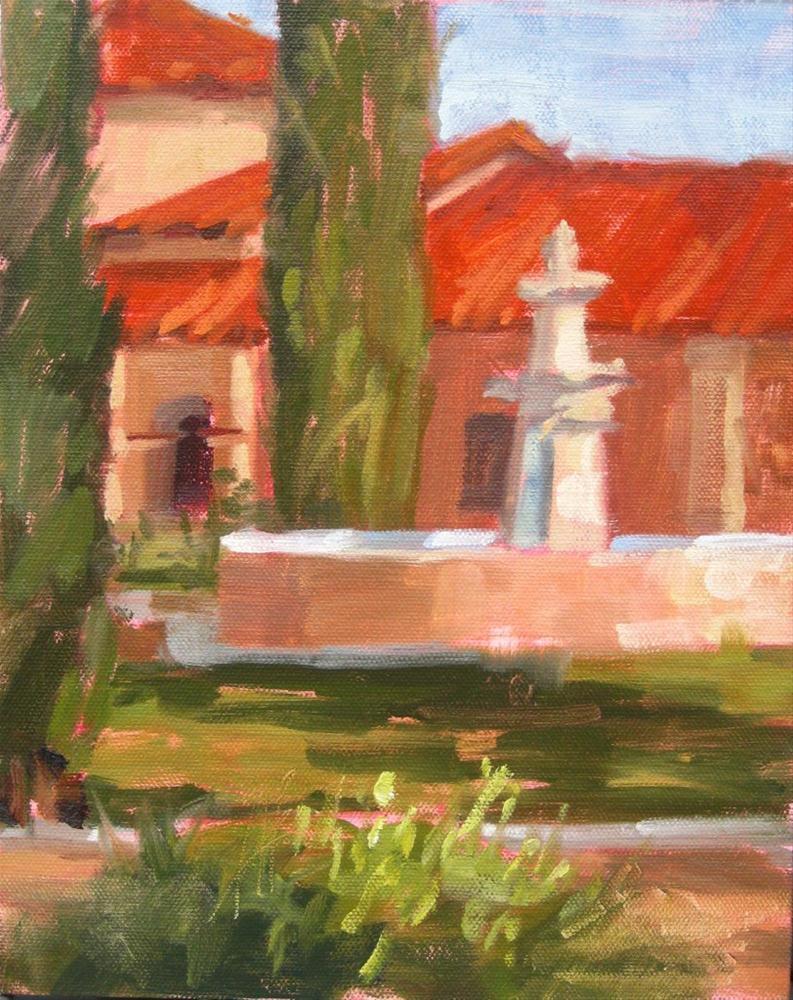 """""""Courtyard Fountain"""" original fine art by Karen Werner"""