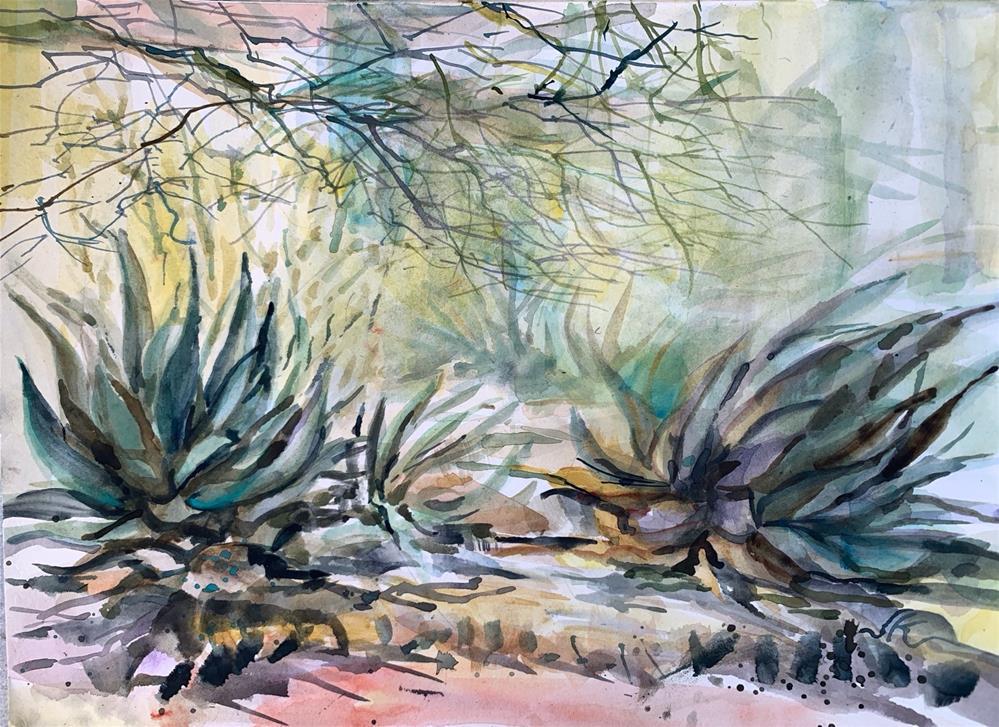 """Two Agaves"" original fine art by Jean Krueger"