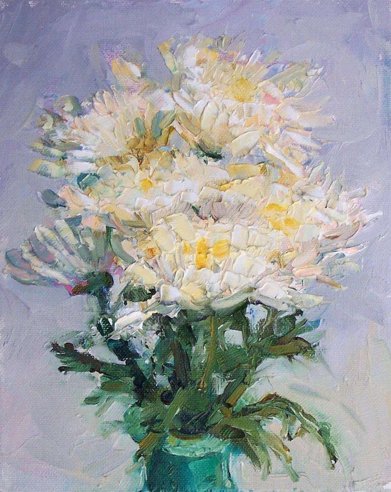 """Mums Cremon,still life,oil on canvas10x8,price$250"" original fine art by Joy Olney"